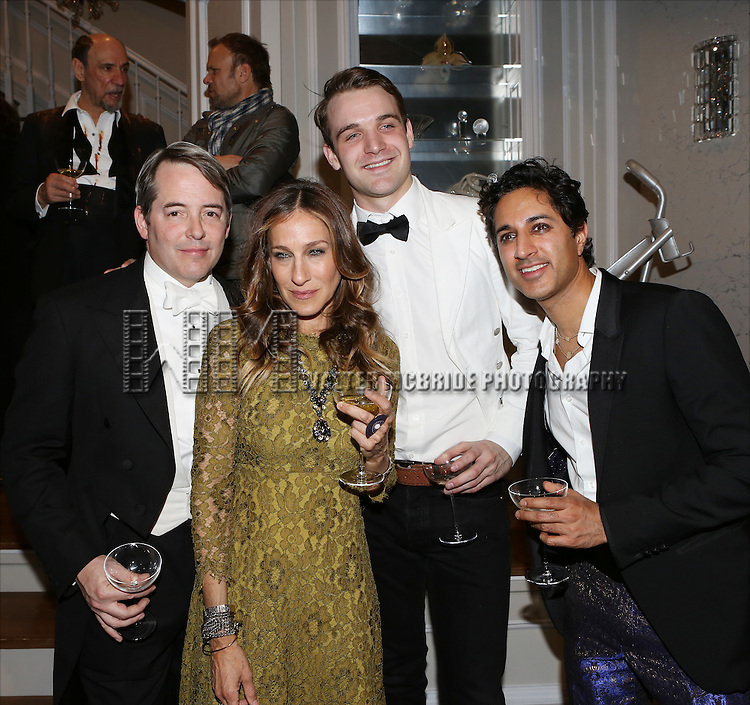 Matthew Broderick, Sarah Jessica Parker, Micah Stock and Maulik Pancholy attend the re-opening night performance backstage reception for 'It's Only A Play' at the Bernard B. Jacobs Theatre on January 23, 2014 in New York City.