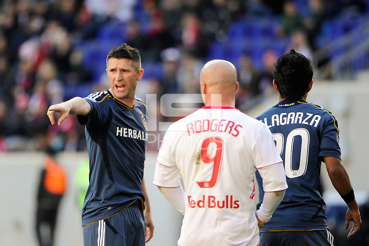 Robbie Keane (14) of the Los Angeles Galaxy gives instructions during the 1st leg of the Major League Soccer (MLS) Western Conference Semifinals against the New York Red Bulls at Red Bull Arena in Harrison, NJ, on October 30, 2011.