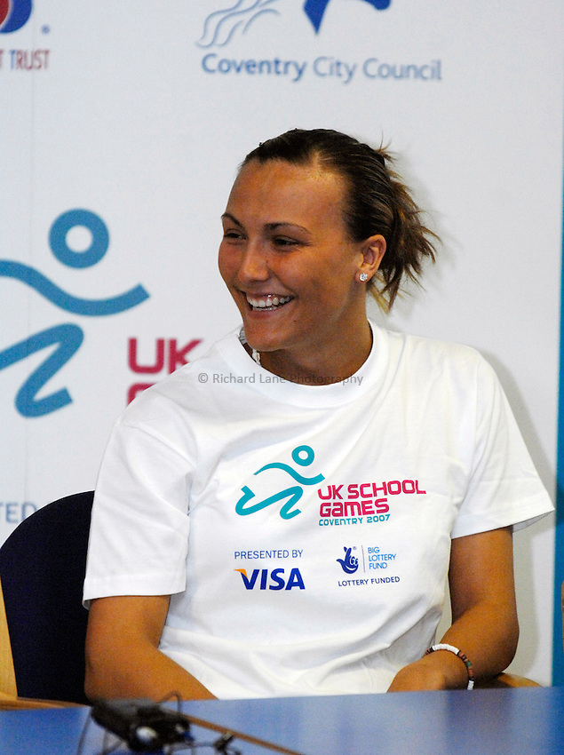 Photo: Richard Lane/Richard Lane Photography..UK Schools Games Press Conference, Coventry. 25/07/2007. .Kelly Sibley, UK School Games 2006 double gold medal winner and British Senior table tennis international.