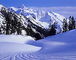 Mount Baker-Snoqualmie National Forest, WA <br /> View of Mt. Shuksan rising above snow patterns at Austin Pass - North Cascades National Park