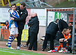 Dundee Utd v St Johnstone..26.12.12      SPL.Peter Pawlett gets a well done hug from Tommy Wright as he is subbed.Picture by Graeme Hart..Copyright Perthshire Picture Agency.Tel: 01738 623350  Mobile: 07990 594431