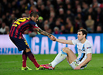 Barcelona. Spain. 12/03/201. football match between fc barcelona and manchester city.<br /> dani alves