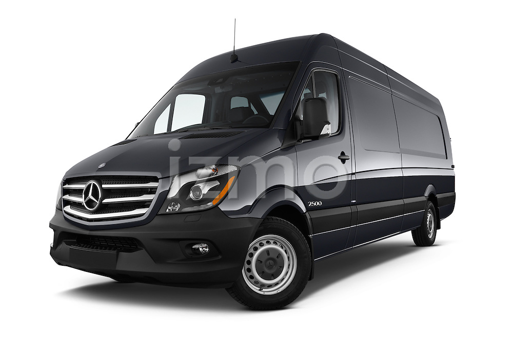 Stock pictures of low aggressive front three quarter view of 2016 Mercedes Benz Sprinter-Cargo-Van 2500-144-WB-High-Roof 4 Door Cargo Van Low Aggressive