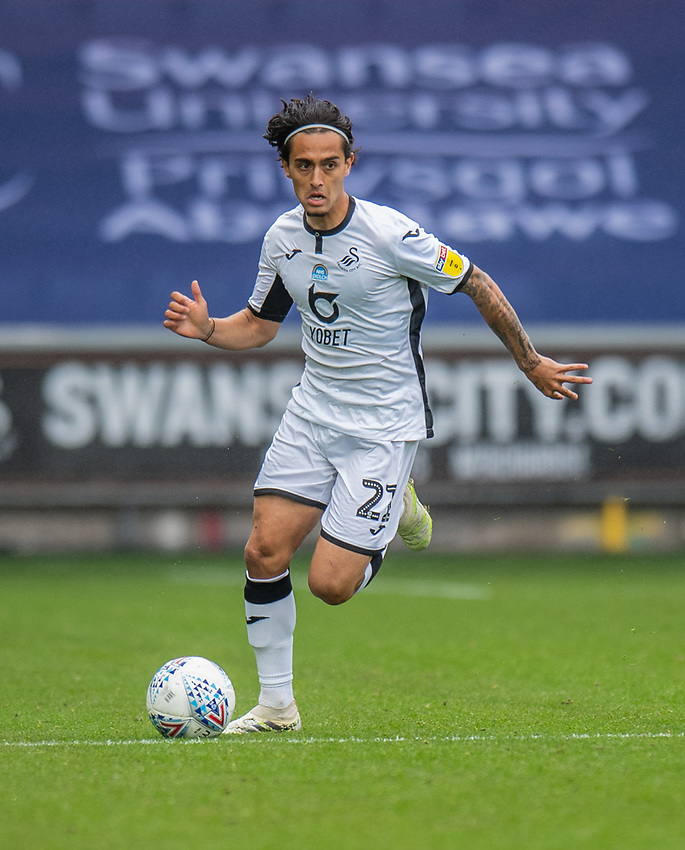 Bristol City's Nakhi Wells <br /> <br /> Swansea City's Yan Dhanda <br /> <br /> Photographer David Horton/CameraSport<br /> <br /> The EFL Sky Bet Championship - Swansea City v Bristol City- Saturday 18th July 2020 - Liberty Stadium - Swansea<br /> <br /> World Copyright © 2019 CameraSport. All rights reserved. 43 Linden Ave. Countesthorpe. Leicester. England. LE8 5PG - Tel: +44 (0) 116 277 4147 - admin@camerasport.com - www.camerasport.com