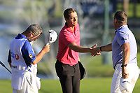 Lucas Bjerregaard (DEN) and Lee Westwood (ENG) finish on the 18th green during Thursday's Round 1 of the 2018 Turkish Airlines Open hosted by Regnum Carya Golf &amp; Spa Resort, Antalya, Turkey. 1st November 2018.<br /> Picture: Eoin Clarke | Golffile<br /> <br /> <br /> All photos usage must carry mandatory copyright credit (&copy; Golffile | Eoin Clarke)