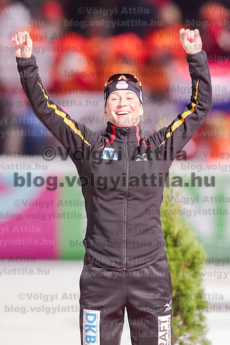 Germany's Claudia Pechstein celebrates her silver medal on the Speed Skating All-round European Championships in Budapest, Hungary on January 8, 2012. ATTILA VOLGYI