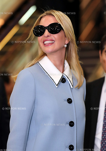 "November 2, 2017, Narita, Japan - Ivanka Trump, a daughter and senior adviser of the U.S. President Donald Trump smiles upon her arrival at the Narita International Airport in Narita, suburban Tokyo on Thursday, November 2, 2017. Ivanka Trump is now in Japan to attend a women's empowerment conference ""World Assembly for Women"".    (Photo by Yoshio Tsunoda/AFLO) LWX -ytd-"