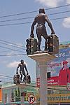 Homo erectus figure traffic lights in Krabi, Thailand
