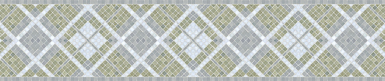 "8 1/2"" Plaid border, a stone mosaic border shown in Verde Luna, Bardiglio, and Celeste polished, is part of the Plaids and Ginghams Collection by New Ravenna Mosaics."