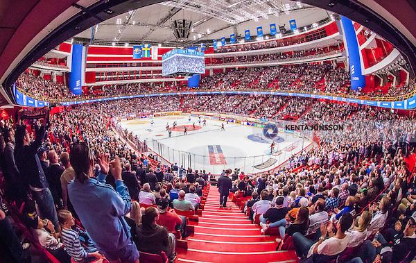 Stockholm 2014-09-17 Ishockey SHL Djurg&aring;rdens IF - Leksands IF :  <br /> Vy &ouml;ver Globen med publik p&aring; l&auml;ktarna under matchen mellan Djurg&aring;rden och Leksand <br /> (Foto: Kenta J&ouml;nsson) Nyckelord:  Djurg&aring;rden DIF Hockey Globen Ericsson Globe Arena SHL Leksand LIF supporter fans publik supporters inomhus interi&ouml;r interior