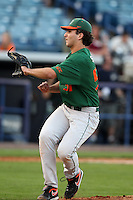 "Miami Hurricanes Javis Salas #51 during a game vs. the University of South Florida Bulls in the ""Florida Four"" at George M. Steinbrenner Field in Tampa, Florida;  March 1, 2011.  USF defeated Miami 4-2.  Photo By Mike Janes/Four Seam Images"