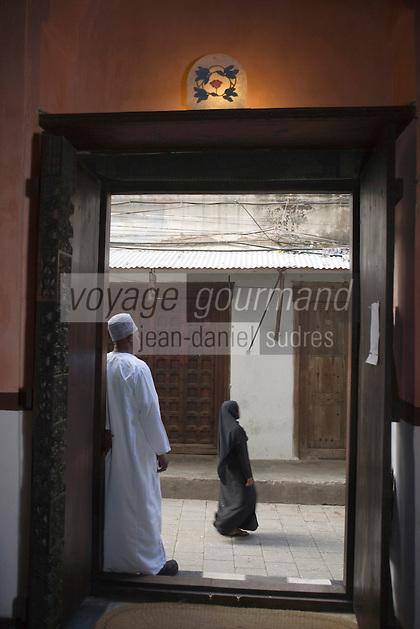 Afrique/Afrique de l'Est/Tanzanie/Zanzibar/Ile Unguja/Stone Town: Hotel Emerson&Green dans une ancienne demeure de l'empire Swahili -l'entrée