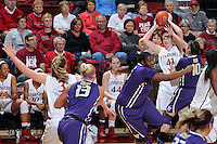 STANFORD, CA - February 27, 2014: Stanford Cardinal's Bonnie Samuelson during Stanford's 83-60 victory over Washington at Maples Pavilion.