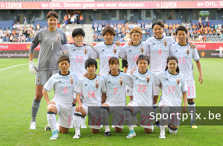 20170613 - LEUVEN ,  BELGIUM : Japanese team with Erina Yamane (1)   Hikari Takagi (2)   Saki Kumagai (4)   Emi Nakajima (7)   Kumi Yokoyama (9)   Mizuho Sakaguchi (10)   Mina Tanaka (11)   Yu Nakasato (14)   Yiu Hasegawa (17)   Ami Sugita (22)   Nana Ichise (23)   pictured during the female soccer game between the Belgian Red Flames and Japan , a friendly game before the European Championship in The Netherlands 2017  , Tuesday 13 th Juin 2017 at Stadion Den Dreef  in Leuven , Belgium. PHOTO SPORTPIX.BE | DIRK VUYLSTEKE