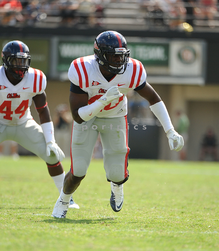 KENTRELL LOCKETT, of the Ole Miss Rebels, in action during the  Ole Miss game against the Vanderbilt Commodores on September 17, 2011 at Vanderbilt Stadium in Nashville, TN. Vanderbilt beat Ole Miss 30-7.