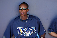 Tampa Bay Rays shortstop Tim Beckham #29 in the dugout before a spring training game against the Baltimore Orioles at the Charlotte County Sports Park on March 5, 2012 in Port Charlotte, Florida.  (Mike Janes/Four Seam Images)