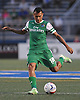 Juan Arango No. 18 of the New York Cosmos makes a pass during an NASL match against the Carolina RailHawks at Hoftra University on Saturday, Aug. 27, 2016. He scored the first two Cosmos goals and was named Man of the Match in the club's 6-1 win.