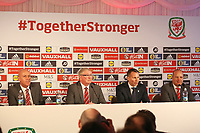 (L-R) FAW Press officer, FAW President David Griffiths, Ryan Giggs and Jonathan Ford speak to members of the press during the Wales Unveiling  Of The New Manager at Hensol Castle, Vale of Glamorgan, Wales, UK. Monday 15 January 2018