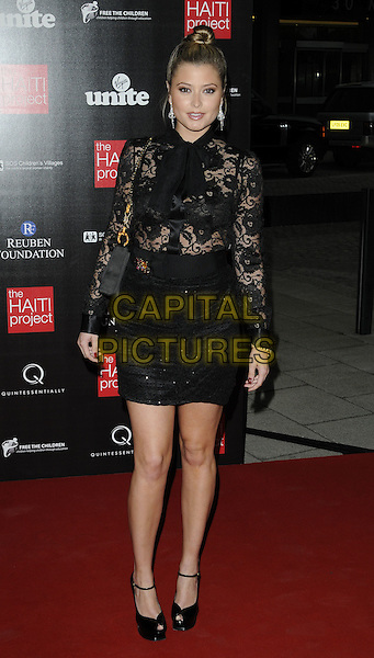 HOLLY VALANCE  .At The Reuben Foundation Haiti Fundraiser, Attitude 360, Millbank Tower, London, England, UK, .May 26th 2010..full length black lace sheer see thru through top sequined sequin skirt bra  bag YSL shoes peep toe ankle strap platform .CAP/CAN.©Can Nguyen/Capital Pictures.
