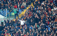 Calcio, Serie A: Roma vs Genoa. Roma, stadio Olimpico, 20 dicembre 2015.<br /> Roma fans support their team during the Italian Serie A football match between Roma and Genoa at Rome's Olympic stadium, 20 December 2015.<br /> UPDATE IMAGES PRESS/Riccardo De Luca