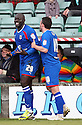 Patrick Agyemang of Stevenage (on loan from QPR) scores their second goal and celebrates. - Yeovil Town v Stevenage - npower League 1 - Huish Park, Yeovil - 14th April, 2012 . © Kevin Coleman 2012..