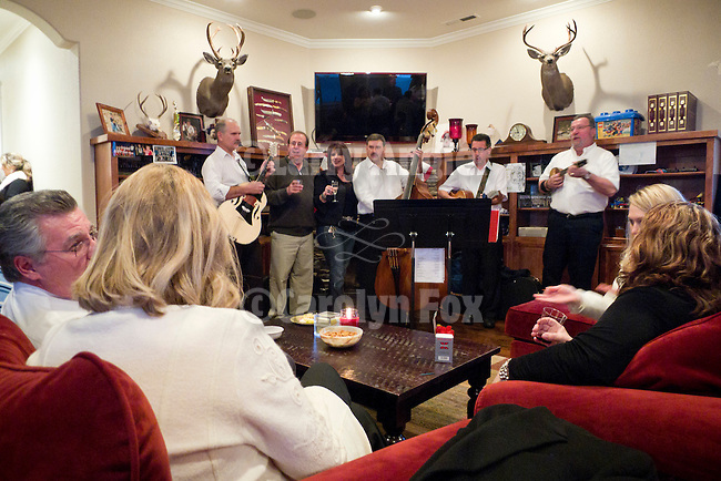 A Serbian band, Braca Tamburitzans, entertains guests at the Armstrong home in Jackson, California, as the Serbian community celebrates Christmas  on January 7, Christmas Day as observed on the Julian Calendar.