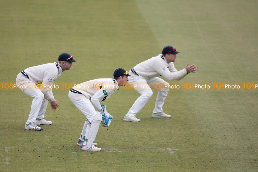 Keeper and slip cordon for Middlesex CCCduring Middlesex CCC vs Lancashire CCC, Specsavers County Championship Division 2 Cricket at Lord's Cricket Ground on 12th April 2019