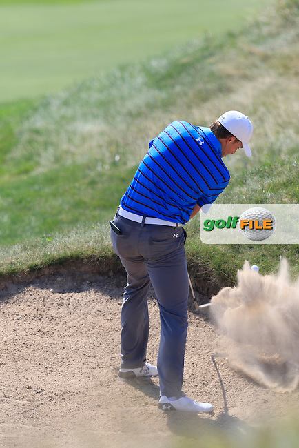 Jordan Spieth (USA) plays his 2nd shot from a fairway bunker on the 2nd hole during Friday's Round 2 of the 97th US PGA Championship 2015 held at Whistling Straits, Mosel, Kohler, Wisconsin, United States of America. 14/08/2015.<br /> Picture Eoin Clarke, www.golffile.ie
