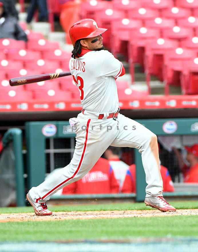 Philadelphia Phillies Freddy Galvis (13) during a game against the Cincinnati Reds on April 6, 2017 at Great American Ballpark in Cincinnati, OH. The Reds beat the Phillies 4-7.