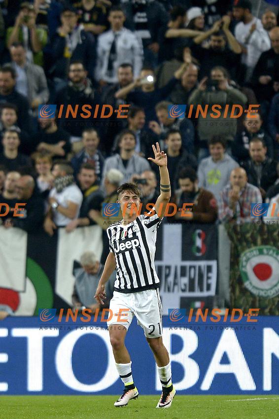 Esultanza Paulo Dybala Juventus dopo gol, goal celebration,<br /> Torino 20-04-2016, Juventus Stadium, Football Calcio 2015/2016 Serie A, Juventus - Lazio, Foto Filippo Alfero/Insidefoto