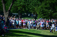 Jordan Spieth (USA) hits his approach shot on 18 during round 2 of the Dean &amp; Deluca Invitational, at The Colonial, Ft. Worth, Texas, USA. 5/26/2017.<br /> Picture: Golffile | Ken Murray<br /> <br /> <br /> All photo usage must carry mandatory copyright credit (&copy; Golffile | Ken Murray)