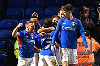 Brett Pitman of Portsmouth middle is mobbed after scoring the winning goal during Portsmouth vs Altrincham, Emirates FA Cup Football at Fratton Park on 30th November 2019