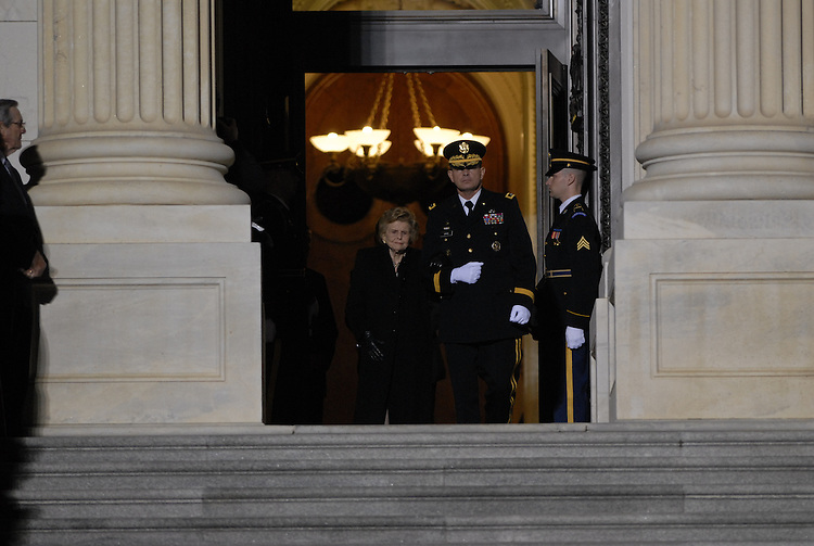 Former first lady Betty Ford waits at the top of the steps to the U.S. House of Representatives waiting to escort the remains of her husband, former U.S. President Gerald R. Ford, into the U.S. Capitol Rotunda on December 30, 2006 in Washington, DC. Ford will lie in state in the Rotunda of the capitol until January 2, 2007 when his remains will travel to Grand Rapids, Michigan, where he will be laid to rest at his presidential library.