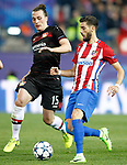 Atletico de Madrid's Yannick Ferreira Carrasco (r) and Bayer 04 Leverkusen's Julian Baumgartlinger during Champions League 2016/2017 Round of 16 2nd leg match. March 15,2017. (ALTERPHOTOS/Acero)