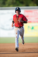 Alex Call (2) of the Kannapolis Intimidators hustles towards third base against the Greensboro Grasshoppers at Intimidators Stadium on July 17, 2016 in Greensboro, North Carolina.  The Grasshoppers defeated the Intimidators 5-4 in game two of a double-header.  (Brian Westerholt/Four Seam Images)
