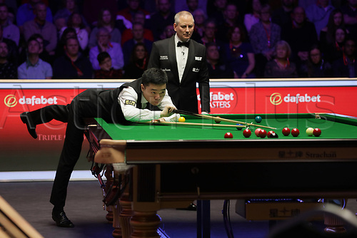 12th January 2020, Alexandra palace, London, United Kingdom; Ding Junhui L of China plays a shot during the round 1 match between Ding Junhui of China and Joe Perry of England at Snooker Masters 2020 at the Alexandra Palace . Perry won 6 frames to 3.