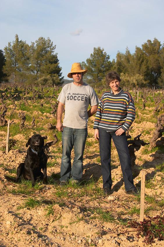 Agnes Henry-Hocquard, owner and responsible for the wines and the winemaker and dog Domaine de la Tour du Bon Le Castellet Bandol Var Cote d'Azur France