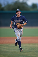 AZL Padres 2 second baseman Ripken Reyes (5) jogs off the field between innings of an Arizona League game against the AZL White Sox on June 29, 2019 at Camelback Ranch in Glendale, Arizona. The AZL Padres 2 defeated the AZL White Sox 7-3. (Zachary Lucy/Four Seam Images)
