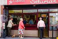 Local Spanish people at cafeteria in Laredo, Cantabria, Spain