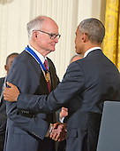 Former Nixon Administration official William Ruckelshaus shakes hands with United States President Barack Obama after receiving the Presidential Medal of Freedom during a ceremony in the East Room of the White House in Washington, DC on Tuesday, November 24, 2015.  The Medal is the highest US civilian honor, presented to individuals who have made especially meritorious contributions to the security or national interests of the US, to world peace, or to cultural or significant public or private endeavors.<br /> Credit: Ron Sachs /  CNP