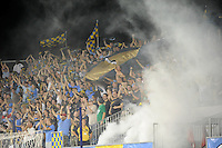 Philadelphia Union fans celebrate a goal. The Philadelphia Union defeated Everton FC 1-0 during an international friendly at PPL Park in Chester, PA, on July 20, 2011.
