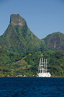 "Sailing cruise ship ""Wind Spirit"", anchored at Opunohu Bay, Moorea, French Polynesia, Pacific Ocean"