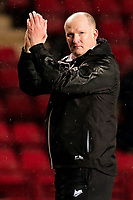 New Bradford City Manager, Simon Grayson, applauds the away fans at the end of the match during Charlton Athletic vs Bradford City, Sky Bet EFL League 1 Football at The Valley on 13th February 2018