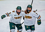 1 December 2018: University of Vermont Catamount Forward Olivia Kilberg, a Sophomore from Edina, MN (left), and Forward Kristina Shanahan, a Sophomore from Ste-Anne-de-Bellevue, Québec (right), celebrate a first period goal against the University of Maine Black Bears at Gutterson Fieldhouse in Burlington, Vermont. The Lady Cats defeated the Lady Bears 3-2 in the second game of their 2-game Hockey East series. Mandatory Credit: Ed Wolfstein Photo *** RAW (NEF) Image File Available ***