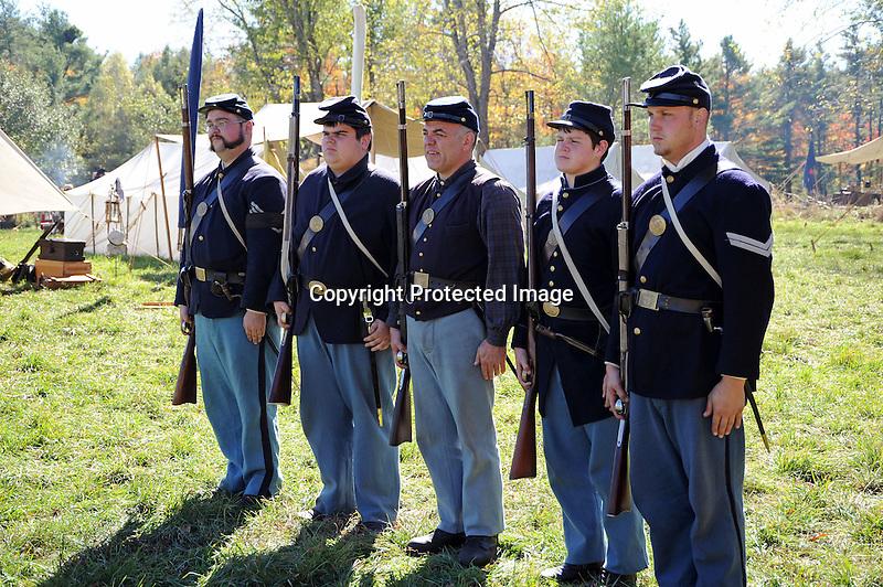Civil War Reenactment Union Army Camp Rifle Drill