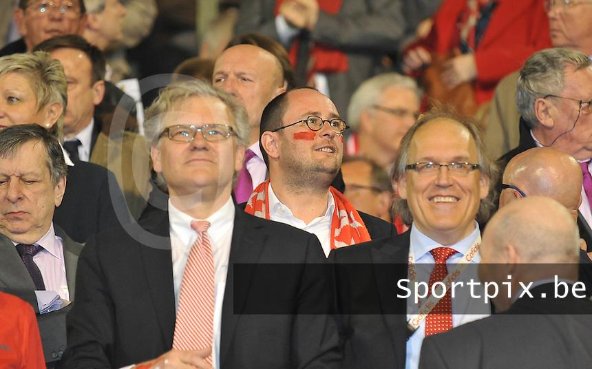 Bekerfinale KV Kortrijk - Sporting Lokeren : Vincent Van Quickenborne tussen burgemeester stefaan De Clerck en voorzitter Joseph Allijns door.foto VDB  / Bart Vandenbroucke