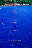 Aerial view of the state championships of canoe racing on the south shore of Maui