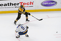 June 6, 2019: Boston Bruins center Patrice Bergeron (37) passes the puck during game 5 of the NHL Stanley Cup Finals between the St Louis Blues and the Boston Bruins held at TD Garden, in Boston, Mass. The Blues defeat the Bruins 2-1 in regulation time. Eric Canha/CSM