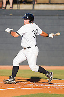 Michael Schwartz #38 of the Bristol White Sox follows through on his swing against the Greeneville Astros at Boyce Cox Field July 1, 2010, in Bristol, Tennessee.  Photo by Brian Westerholt / Four Seam Images