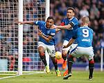 07.04.2018 Rangers v Dundee:<br /> Alfredo Morelos celebrates his goal with James Tavernier and Kenny Miller